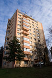 Communist-era condominium, renovated. All Communist-era condominiums in Romania (built between 1950 and 1990) are eligible for the thermal rehabilitation program stock photos
