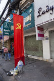 Communist flag on the street Royalty Free Stock Photos