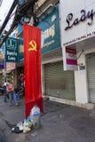 Communist flag on the street Royalty Free Stock Photos