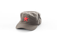 Communist hat,red star cap on white background Stock Photography
