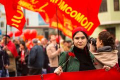 Communist party supporters take part in a May Day rally Stock Images