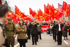 Communist party supporters take part in a May Day rally Royalty Free Stock Photo