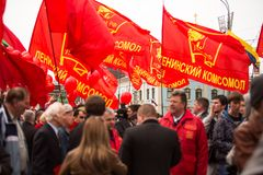 Communist party supporters take part in a May Day rally Royalty Free Stock Photography