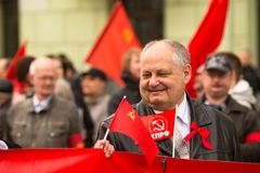 Communist party supporters take part in a May Day rally Royalty Free Stock Images