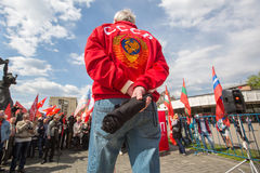 Communist party supporters together with National Bolsheviks take part in a rally marking the May Day in the center of Moscow. Stock Images