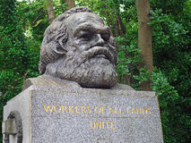 Communist philosopher Karl Marx. LONDON - SEPTEMBER 2016:  Communist philosopher Karl Marx is buried with a massive monument among the upper middle class Royalty Free Stock Image