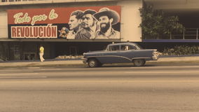 Communist Propaganda Billboard Havana Cuba Street stock video footage