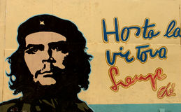 Communist propaganda with Che Guevara. HAVANA, CUBA, JUNE 12: Communist propaganda with Che Guevara image, one of the icons of the Cuban Revolution on dec 31 Royalty Free Stock Photography