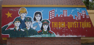 Communist propaganda in Vietnam. HUE, VIETNAM - JULY 30: Communist propaganda on July 30, 2012 in Hue, Vietnam. Only political organizations affiliated with the stock images