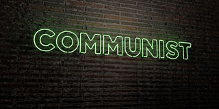 COMMUNIST -Realistic Neon Sign on Brick Wall background - 3D rendered royalty free stock image Stock Photography