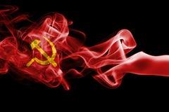 Communist smoke flag. Isolated on black background Royalty Free Stock Photos