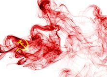 Communist national smoke flag. Communist smoke flag isolated on a white background Stock Photography