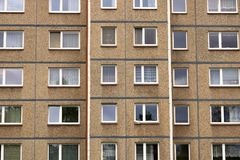 Communist socialist architecture. Architectural detail and pattern of social residential of apartments in Jablonec, Czech Republic. Communist socialist stock photo