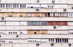 Communist socialist architecture. Architectural detail and pattern of social residential of apartments. Portrait of socialist-era housing district, city stock photography