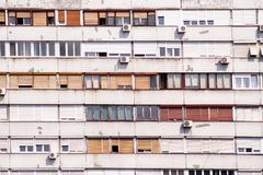 Communist socialist architecture. Architectural detail and pattern of social residential of apartments. Portrait of socialist-era. Housing district, city royalty free stock images