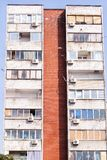 Communist socialist architecture. Architectural detail and pattern of social residential of apartments. Portrait of socialist-era housing district, city royalty free stock image