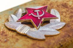 Communist Soviet Badge. Rusty Metal royalty free stock photos