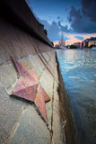 Communist star on the Moscow river bank Stock Image