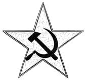 Communist Star Symbol with Hammer and Sickle Vector Drawing Royalty Free Stock Image