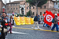 Communistische demonstratie in Rome, Italië Stock Fotografie