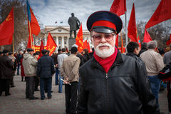 Communists party in a May Day. Bearded man on Communists party Stock Photography