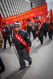 Communists party in a May Day. Old man in glasses goes on parade Stock Photos