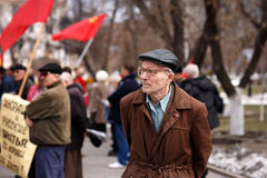 Communists party in a May Day. Old man  on Communists party Stock Image