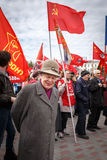 Communists party in a May Day. Old woman man smiled on Communists party Royalty Free Stock Photography