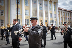 Communists party in a May Day. Orchestra goes on parade in a May Day Stock Images