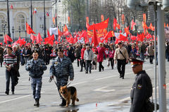 Communists take part in a rally May Day in Moscow royalty free stock photo