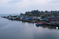 Communities along the estaury in Klang, Rayong Province, Thailan. D Royalty Free Stock Image