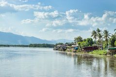 Communities living along the Ping River in Tak district. Thailand Royalty Free Stock Image