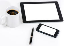 Communities meet here. Business, communities meet here. Coffee, pen with blank tablet and phone easy to fill in for advertising Royalty Free Stock Image