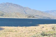 Community住宅湖作为有鸭子的一个后院 免版税库存照片
