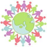 Community. Colorful symbol with globe design stock illustration