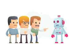 Community accuses robot. Royalty Free Stock Photos