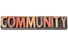 Community banner in wood type Royalty Free Stock Photography