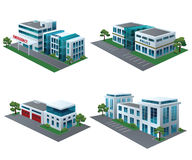 Community buildings. Set of perspective community buildings: hospital, fire station, police and office building Royalty Free Stock Images