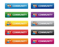 Community buttons. In various colors Stock Images