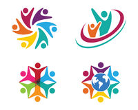 Community Care Logo. Collection Of People Icons In Circle - Vector Concept Engagement, Togetherness Stock Photos