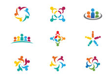 Community Care Logo. Collection Of People Icons In Circle - Vector Concept Engagement, Togetherness Royalty Free Stock Photography
