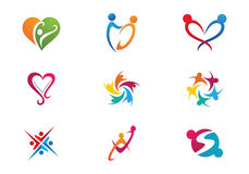 Community Care Logo. Collection Of People Icons In Circle - Vector Concept Engagement, Togetherness Stock Photo