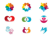 Community Care Logo. Collection Of People Icons In Circle - Vector Concept Engagement, Togetherness Stock Image