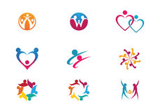 Community Care Logo. Collection Of People Icons In Circle - Vector Concept Engagement, Togetherness Royalty Free Stock Image