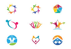 Community Care Logo. Collection Of People Icons In Circle - Vector Concept Engagement, Togetherness Stock Images