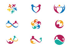 Community Care Logo. Collection Of People Icons In Circle - Vector Concept Engagement, Togetherness Royalty Free Stock Photo