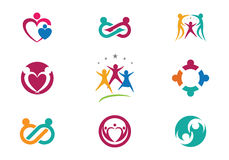 Community Care Logo. Collection Of People Icons In Circle - Vector Concept Engagement, Togetherness Royalty Free Stock Images