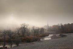 Community church on a foggy morning. Royalty Free Stock Photos