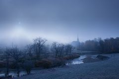 Community church on a foggy morning. Stock Photo