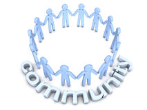 Community. Concept. A group of icon people standing in a circle. 3D rendered Illustration Royalty Free Stock Images